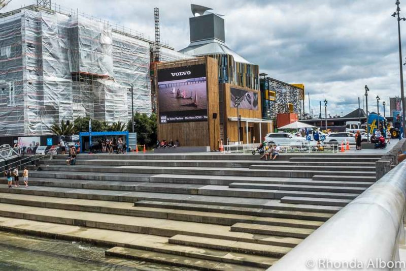 A big screen shows Volvo Ocean race highlights in Wynyard Quarter, Auckland New Zealand