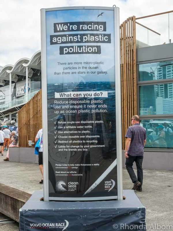 Sustainability signage at Volvo Ocean Race Auckland stopover, New Zealand