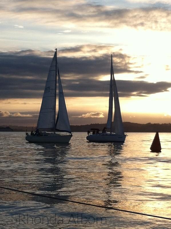 Sunset during twilight racing