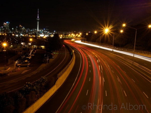 City lights of Auckland from a motorway overpass, New Zealand