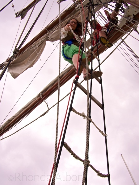 Climbing up the mast of the Breeze in Auckland, New Zealand