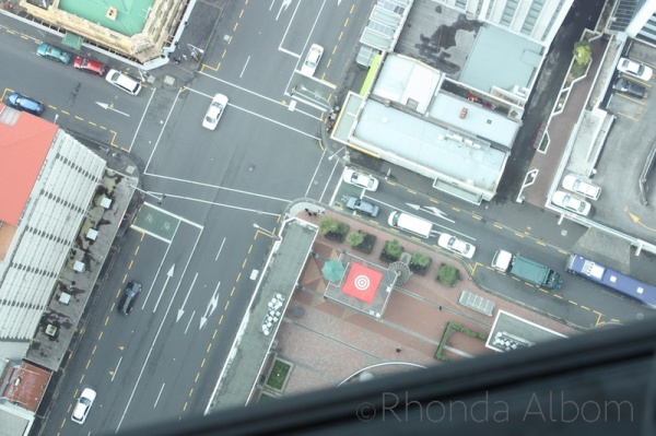 Looking straight down from the top of the Sky Tower, Auckland New Zealand