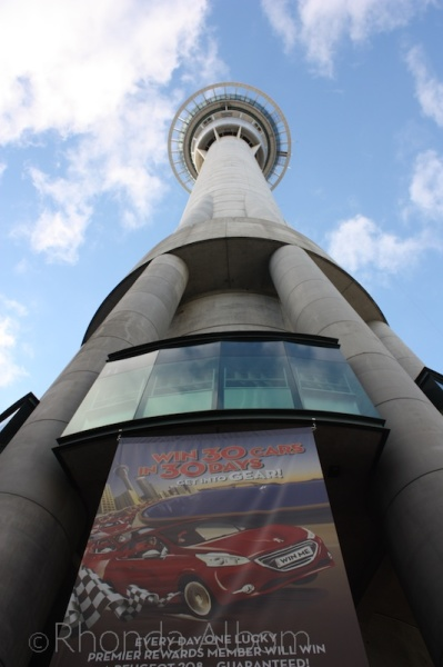 Looking up at the Sky Tower, Auckland New Zealand