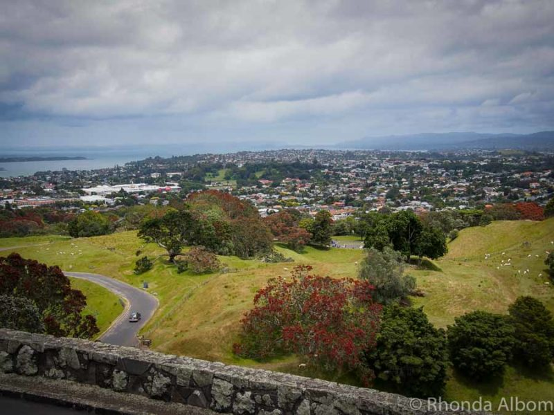 View from the lookout at One Tree Hill in Auckland, New Zealand