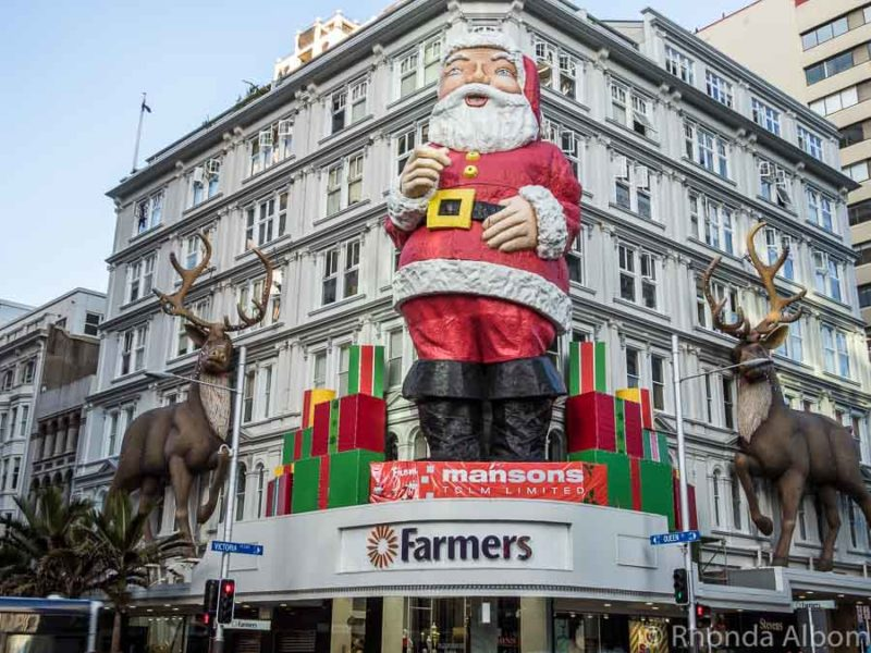 Giant Santa on Queen Street in Auckland New Zealand