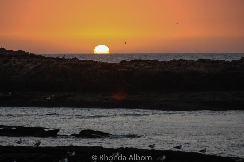 Sunset on Essaouira beach in Morocco