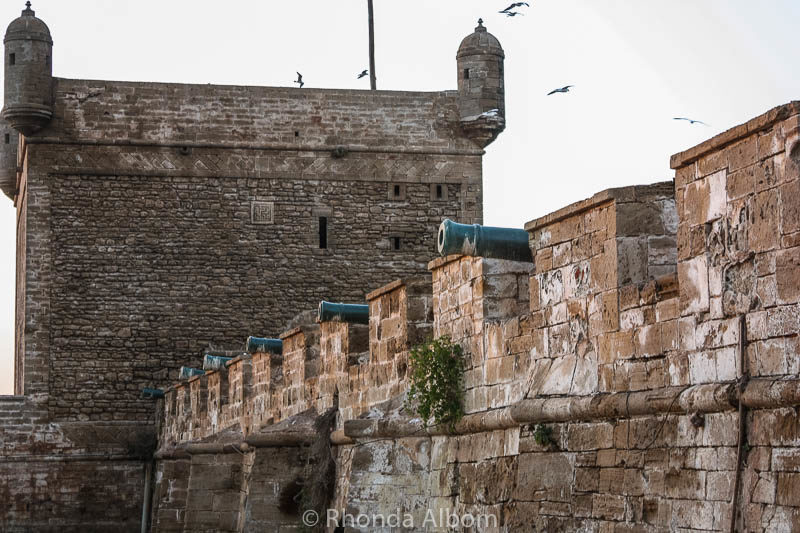 Cannons on the old guard tower in Seagull in Essaouira Morocco