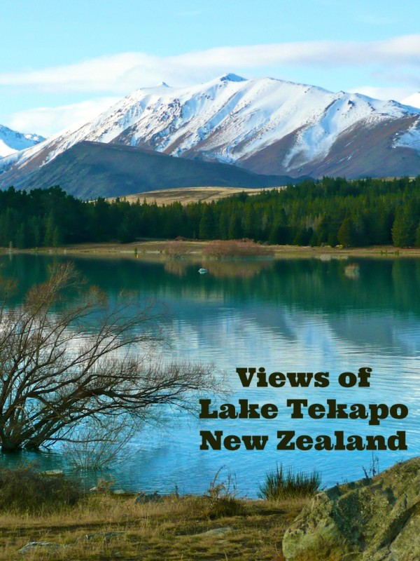 Views of Lake Tekapo on the South Island of New Zealand in early winter with snow capped mountains in the background