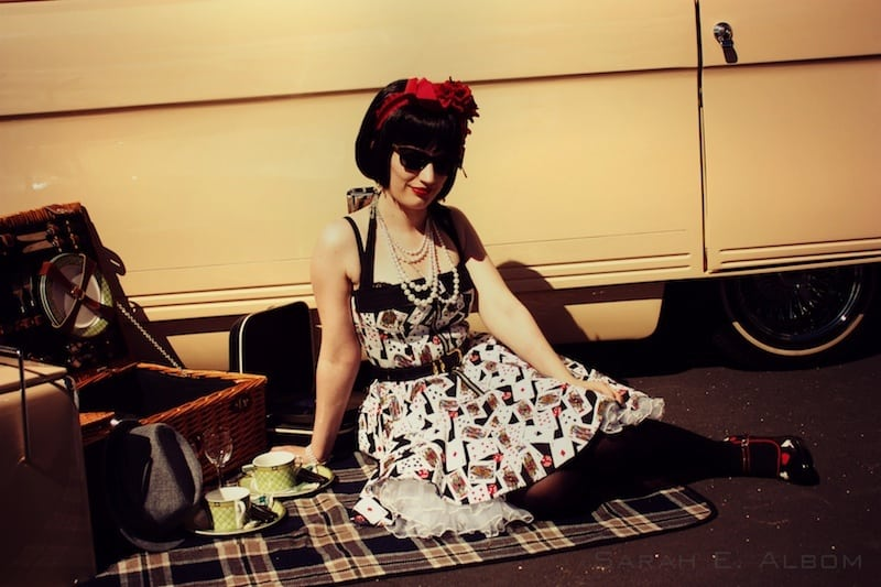 Lolita posing on a picnic blanket at the Very Vintage Day Out, Alexandra Park Raceway, Auckland, New Zealand - Copyright Sarah E. Albom 2014; for more photos of 2015 photo highlights, visit Albom Adventures