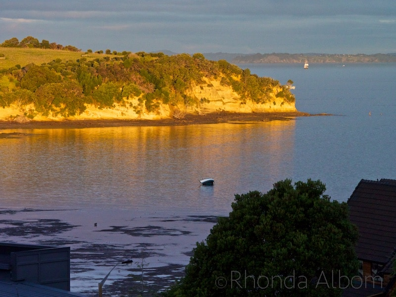 Golden hour on Okoromai Bay, Shakespear Park, Auckland New Zealand