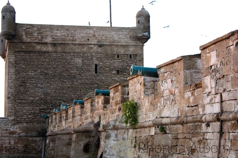Cannons along the exterior wall of the Medina of Essaouira Morocco