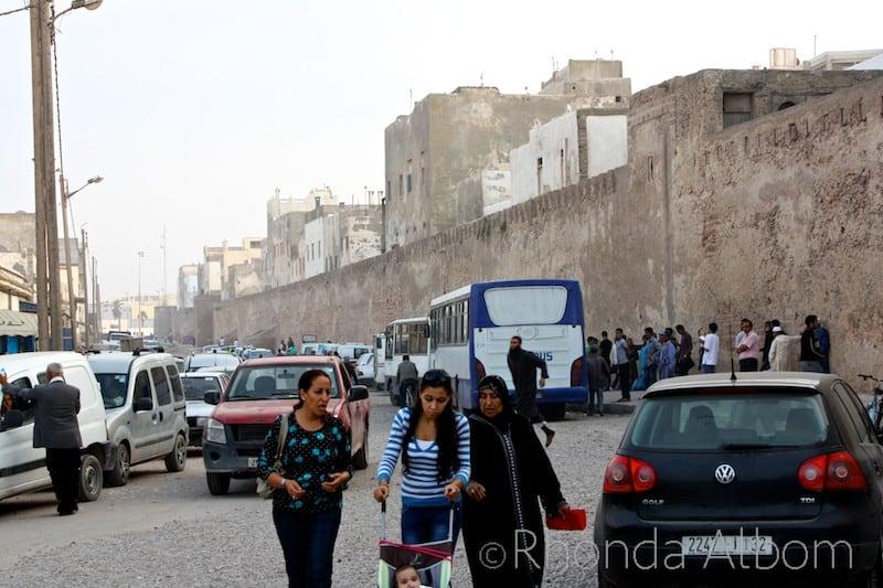 Traffic just outside the Medina wall in Essaouira Morocco