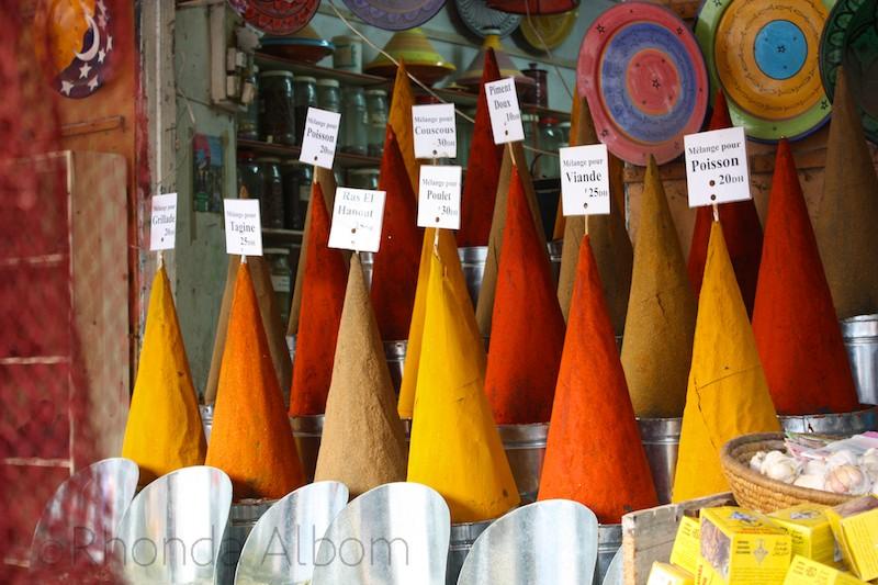 Colorful spices in Essaouira Morocco