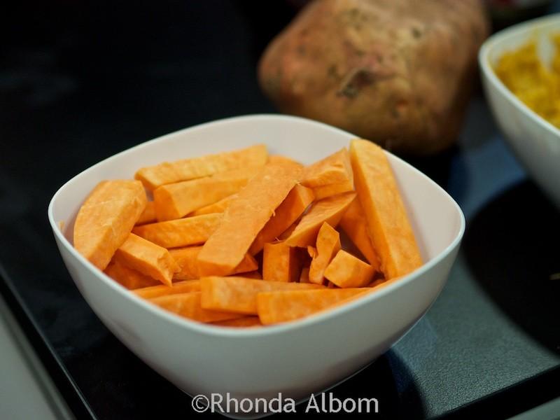 Raw orange kumera in New Zealand