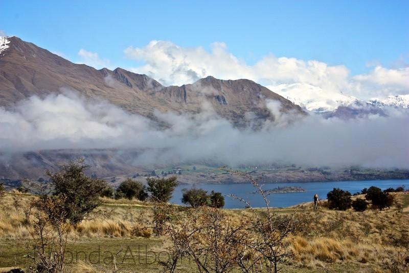 View of Lake Wanaka from Mount Iron in Wanaka New Zealand