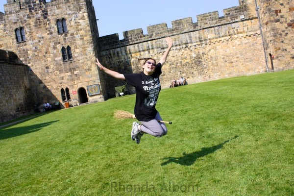 Flying a broomstick at Alnwick Castle where Harry Potter learned to fly