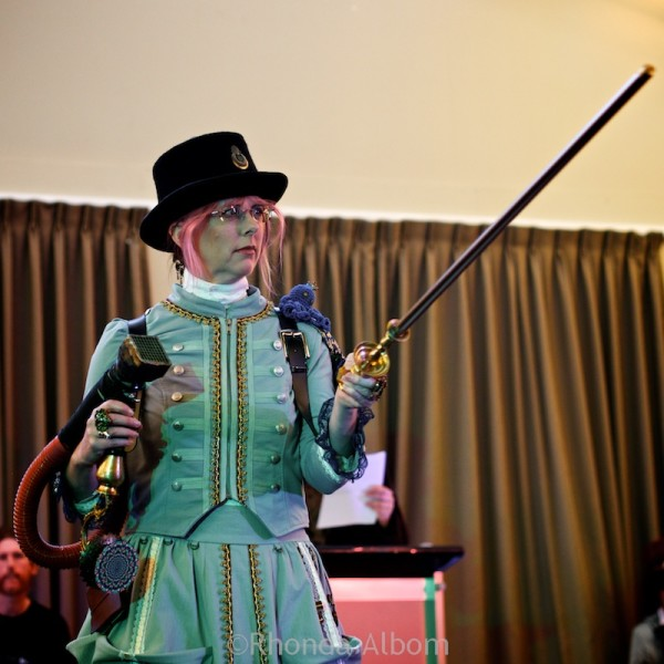 Female winner of the costume contest at Aethercon Steampunk Convention 2015 Auckland New Zealand