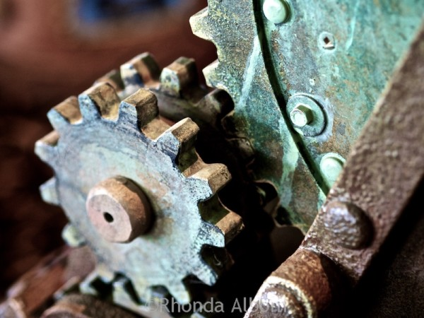 Gears on a steam cannon at Aethercon Steampunk Convention 2015 Auckland New Zealand