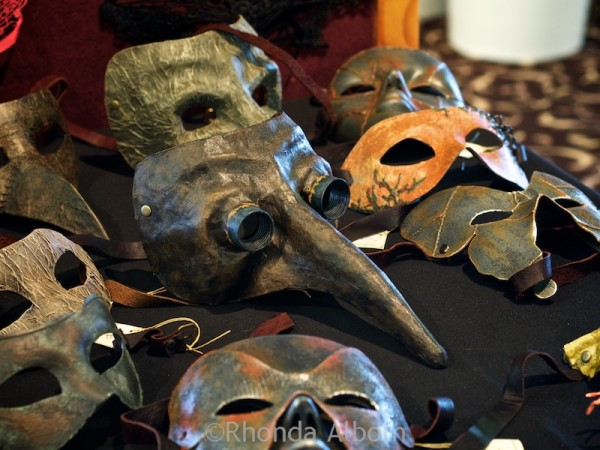 Metal masks available for sale at Aethercon Steampunk Convention 2015 Auckland New Zealand