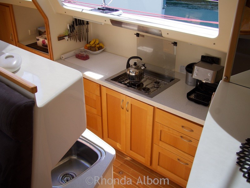 On-board a catamaran at the Auckland on the Water Boat Show 2015 - New Zealand