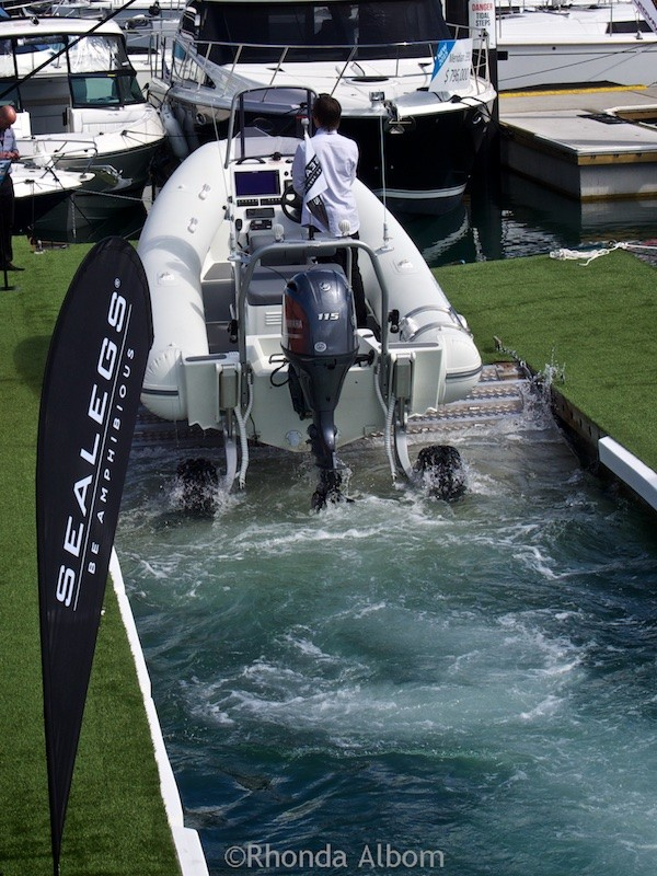 An amphibious craft coming out of the water in New Zealand