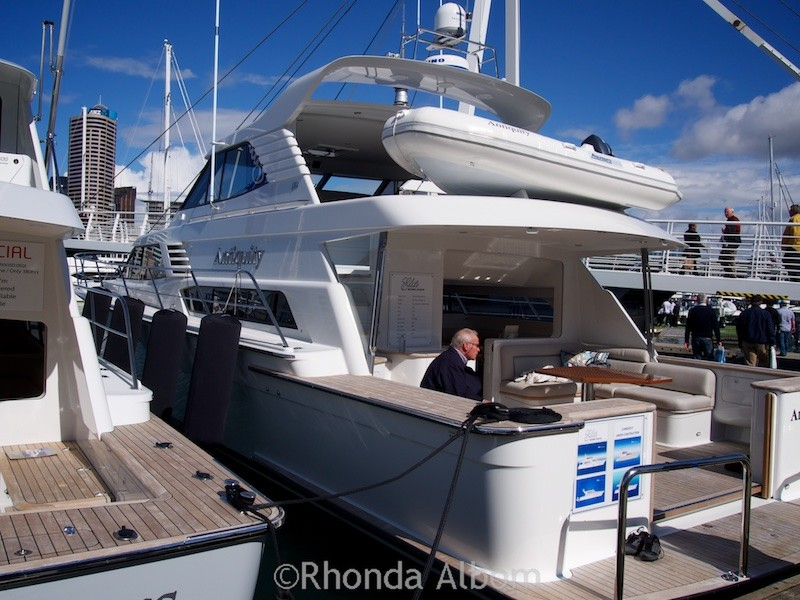 A super yacht at the Auckland Boat Show - New Zealand