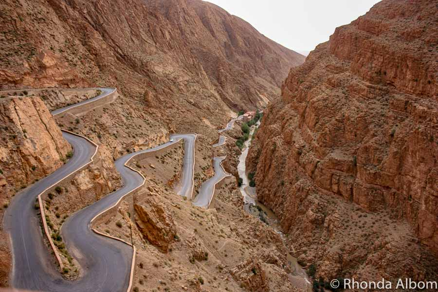 Winding road through Todra Gorge in Morocco