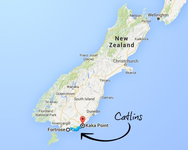 map of Catlins on the South Island of New Zealand