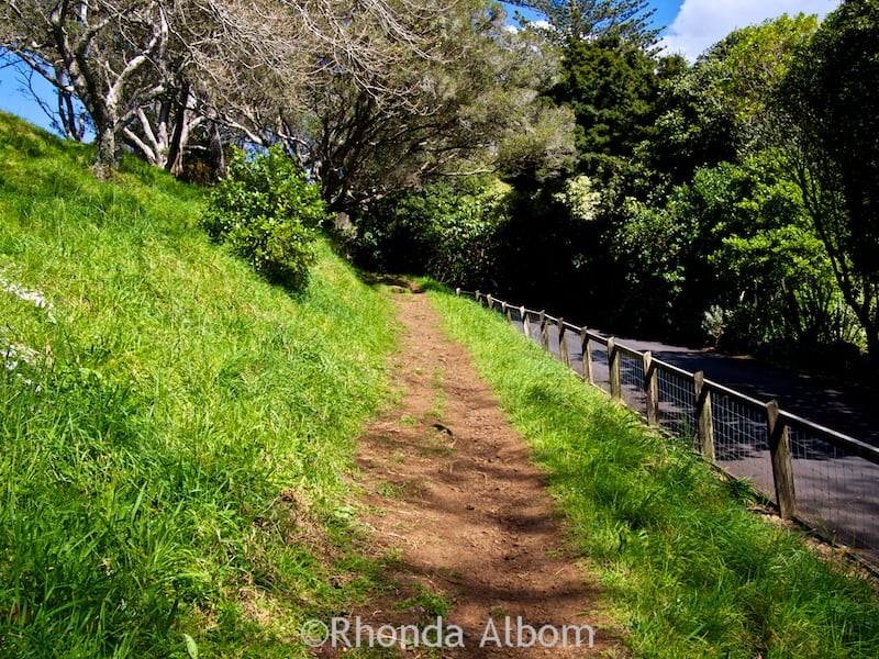 The dirt path on the extinct Mount Eden Volcano gets somewhat steeper than the road. Auckland New Zealand