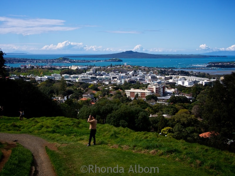 View north including Rangitoto Island (a dormant volcano) from the rim of the extinct Mount Eden Volcano, Auckland New Zealand