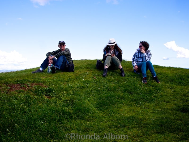 Enjoying the day, sitting on an extinct volcano in Auckland New Zealand