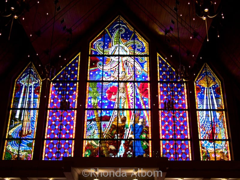 Stained glass window on back wall of Holy Trinity Cathedral in Parnell, Auckland New Zealand