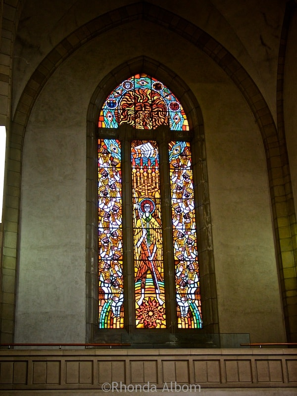 Smaller stained glass window at Holy Trinity Cathedral in Parnell, Auckland New Zealand