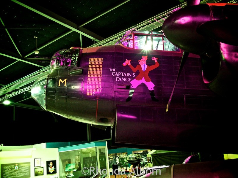 Each bomb displayed on the side of the Lancaster Bomber represents a mission the plane flew until the parachute represented the final mission.