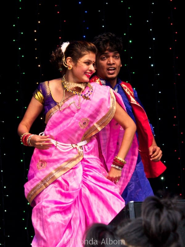 Colorful dancers at Auckland Diwali Festival 2015 in New Zealand
