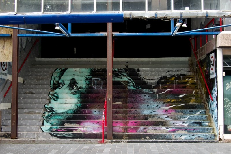 This Auckland street art was commissioned for Auckland Art Week and is a collaboration between Askew One, Elliot Francis Stewart and Gary Silipa.