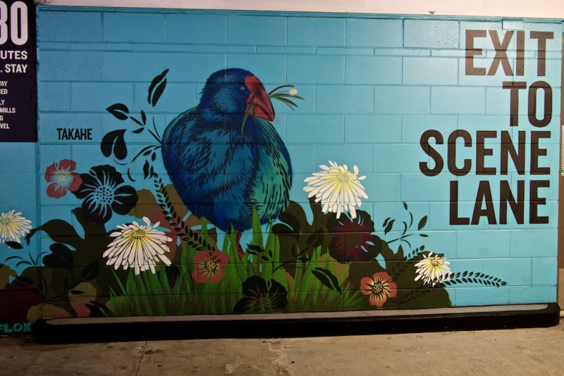 Critically endangered takahe bird painted on a wall of Britomart car park in Auckland, New Zealand.