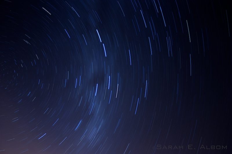 Star trail from the southern hemisphere - taken in New Zealand. Copyright Sarah E. Albom 2014; for more photos of the night sky, visit Albom Adventures