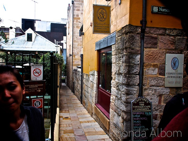 Sewage once ran down this narrow street in the Rocks, Sydney, Australia