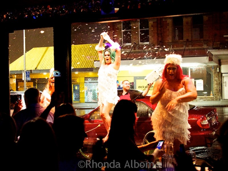 Drag Queen show at Caluzzi Bar and Cabaret in Auckland New Zealand heads outdoors.