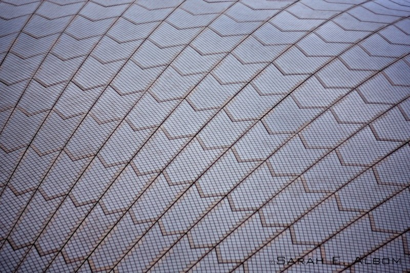 Sydney textures - to be specific, a close-up of the roof of the Sydney Opera House in Australia. Copyright Sarah E. Albom 2015; for more photos of Sydney, visit the blog