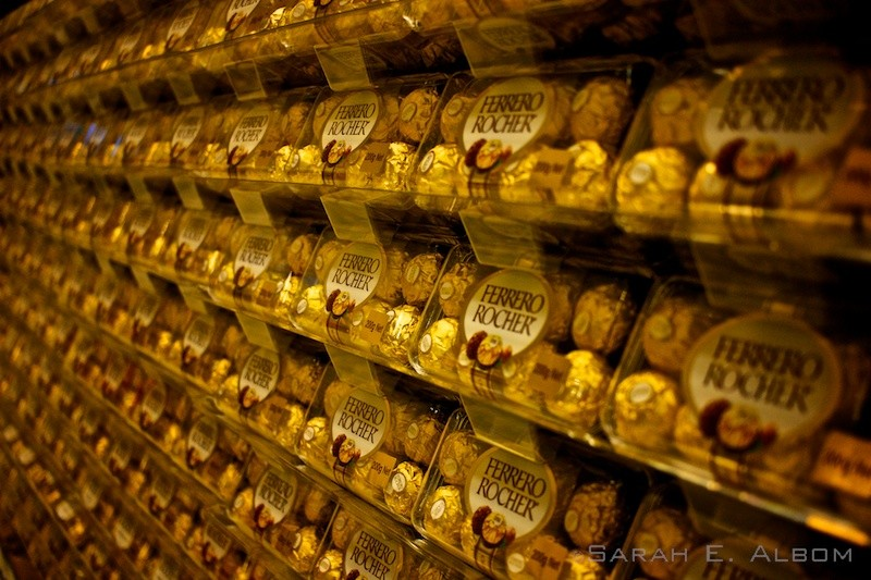 Piles of Fererro Rochers were in the top of a grocery store in Sydney, Australia. Copyright Sarah E. Albom 2015; for more photos of Sydney, visit the blog