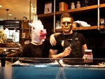 Even some of the shop keepers got into the late night Halloween spirit in Auckland, New Zealand