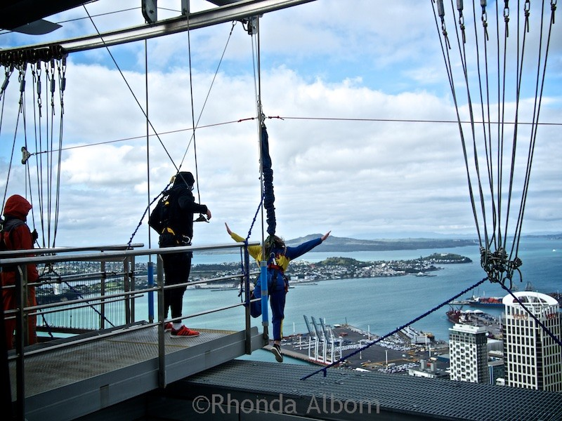 Leaping off the Sky Tower in Auckland New Zealand is one of many adrenaline rush activities available in the city.