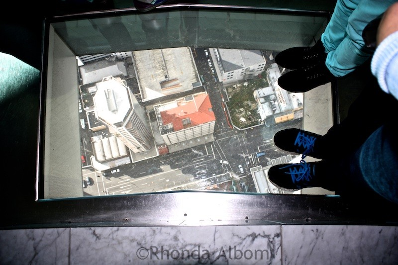 Glass floor in the observation deck of the Auckland Sky Tower New Zealand