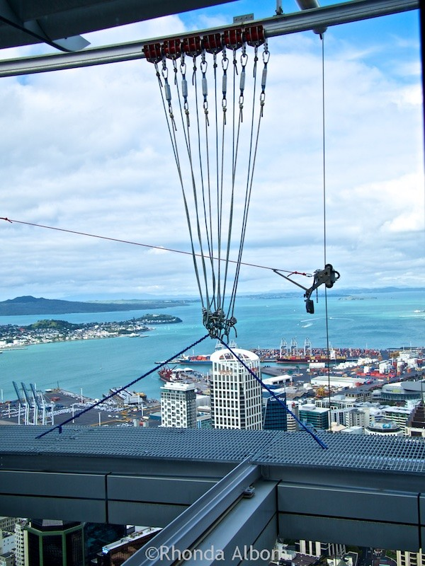 The safety lines that will be used to secure sky walkers on the Auckland Sky Tower, New Zealand