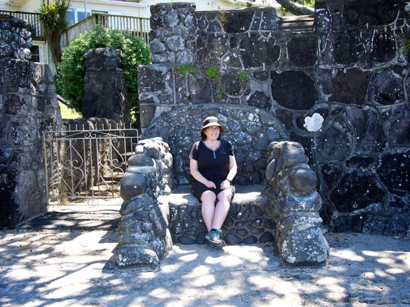 A giant stone chair on the Takapuna to Milford Coastal Walk in Auckland New Zealand