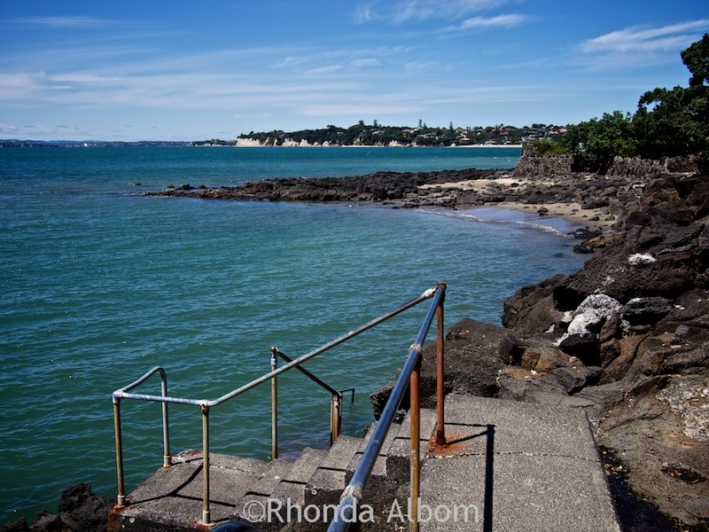 A staircase into the water near Takapuna in Auckland New Zealand