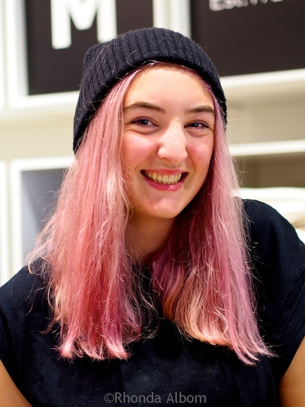 Pink hair, one of a rainbow of colors spotted in New Zealand's capital city
