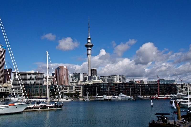 Auckland Skyline as seen from the ferry coming into the city.